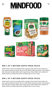 MindFood – Win One of Five Mother Earth Prize Packs (prize valued at $45)