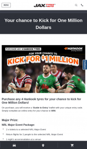 NRL & Jax Tyres- Purchase Hanook Tyres & – Win a Chance to Kick for Million Dollars Minor Prizes (prize valued at $1,050)