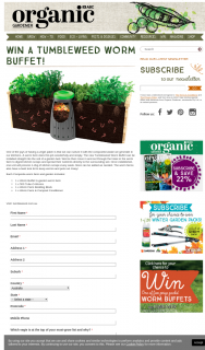 Organic Gardener – Win a Tumbleweed Worm Buffet (prize valued at $545)