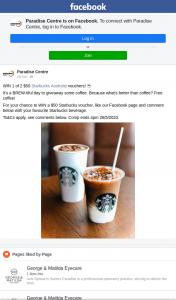 Paradise Centre – Win a $50 Starbucks Voucher (prize valued at $100)