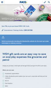 RACQ – Win $2000 Worth of Wish Gift Cards (prize valued at $2,000)