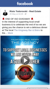 Risto Todorovski – Win a Delicious Dinner at The Local The Kingsway Bar & Bistro to The Value of $200 on Us