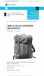 SSAA – Win a Falco Hunters Backpack (prize valued at $295)
