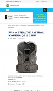 SSAA – Win a Stealthcam Trail Camera Qs18 18mp (prize valued at $179)