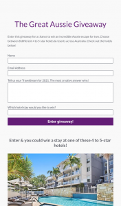 Traveldream – Win an Incredible Aussie Escape for Two (prize valued at $600)