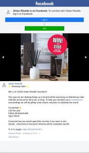 Urban Rituelle – Win 1 of 3 $100 Urban Rituelle Vouchers (prize valued at $300)