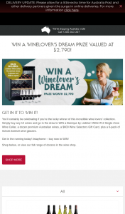 Wine Selectors – Win a Winelover's Dream Prize Valued at $2790