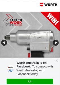 Wurth Australia – #backtowork #businessasusual #letssticktogethe R (prize valued at $200)