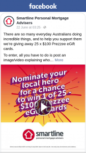50 x $100 Prezzee eGift Cards – Win Smartline Home Loans (prize valued at $5,000)