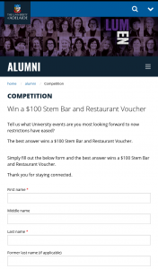 Adelaide Uni win a $100 Stem – Win a $100 Stem Bar and Restaurant Voucher (prize valued at $1)