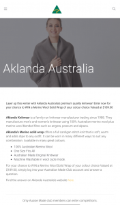 Australian Made – Win a Merino Wool Solid Wrap of Your Colour Choice Valued at $189.00 (prize valued at $189)