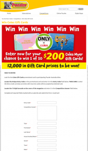Australian Puzzler – Win a Coles Myer Gift Card Valued at Au$200. (prize valued at $2,000)