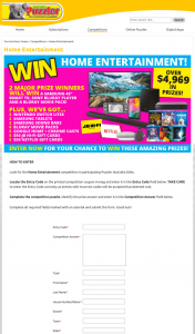 Australian Puzzler – Win Home Entertainment (prize valued at $4,970)