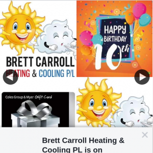 Brett Carroll Heating & Cooling PL – Win 1/6 $50 Coles Myer Gift Cards