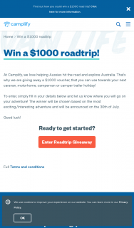 Camplify – Win a $1000 Road Trip (prize valued at $1,000)