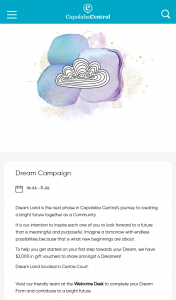 Capalaba Central – Complete your dream form to – Win 1 of 4 X $500 (prize valued at $2,000)