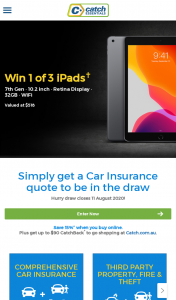 Catch – Win One of Three Ipads Get a Car Insurance Quote (prize valued at $518)