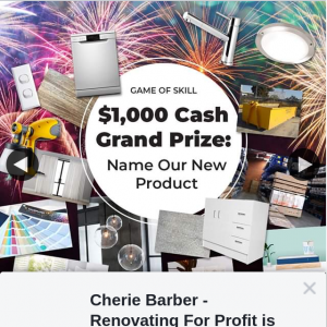 Cherie Barber Renovating for Profit – Win $1000 Name Our New Product