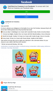 Cold Rock Ice Creamery – Win a $200 Cold Rock Gift Voucher (prize valued at $200)