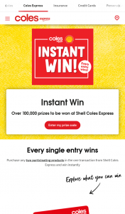 Coles Express – Win Terms & Conditions (prize valued at $4,000)