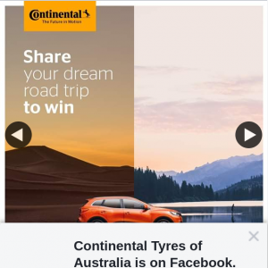 Continental Tyres of Australia – Win $100 Egift Card and Be Virtually Transported to Your Favourite Road Trip Destination