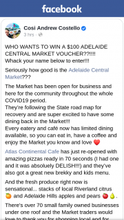 Cosi Andrew Costello – Win a $100 Adelaide Central Market Voucher? (prize valued at $100)