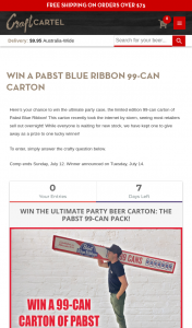 Craft Cartel – Win a Pabst Blue Ribbon 99-can Carton (prize valued at $250)