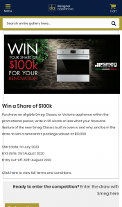 Designer Appliances – Purchase participating appliances to – Win a Share of $100k (prize valued at $10,000)