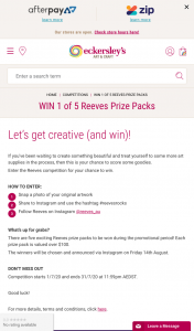 Eckersley's Art & Craft – Win 1 of 5 Reeves Prize Packs (prize valued at $100)