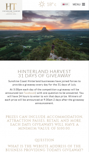 Hinterland Tourism – Win Prizes Daily