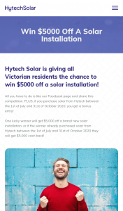 Hytech Solar – Win $5000 Off a Solar Installation for Your Home Or Business By Liking Hytech Solar on Facebook (prize valued at $5,000)