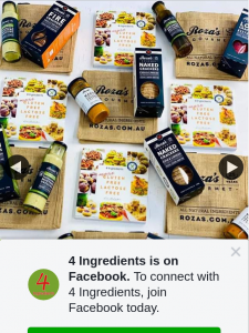 4 Ingredients – Win 1/6 Roza's Gourmet Prize Packs (prize valued at $50)