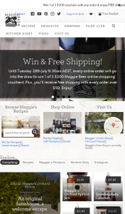 Maggie Beer – Place an order over $50 to – Win 1 of 3 $200 Maggie Beer Online Shopping Vouchers (prize valued at $200)