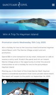 Marine Village Sanctuary Cove – Win a Trip to The Luxurious Intercontinental Hayman Island Resort