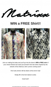 Matrixx – Win a Free Shirt of Your Choice