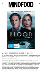 MindFood – Win 1 of 5 Copies of Blood S2 on DVD Valued at $34.95 (prize valued at $34.95)