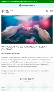 Pacific Fair Shopping Centre – Win a Private Gaming Experience at Event Cinemas