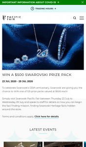 Pacific Fair Shopping Centre – Win a $500 Swarovski Prize Pack