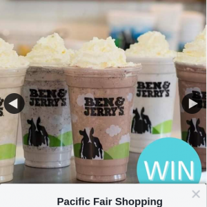 Pacific Fair Shopping Centre – Win 2 Milkshakes for You and Your Bestie at Ben & Jerry's