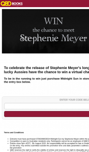 QBD Books – Win a Virtual Chat With Stephenie Herself