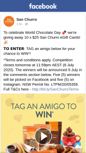San Churro – Win 1/10 $25 San Churro Egift Cards (prize valued at $250)
