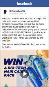 Schwarzkopf Australia – Win 1-of-15 Bio-Tech Hair Care Packs