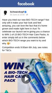Schwarzkopf Australia – Win 1-of-15 Bio-Tech Hair Care Packs