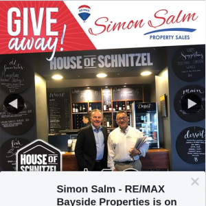 Simon Salm Re-Max Bayside Properties – Win a $60 Family Dinner Voucher to Capalaba Tavern- The House of Schnitzel (prize valued at $60)