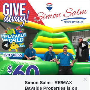 Simon Salm Re-Max bayside properties – Win a $60 Voucher to Inflatable World Victoria Point Queensland