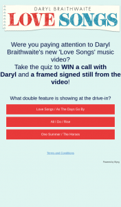 Sony Music – Answer quiz to – Win a Call With Daryl and a Framed Signed Still From The Video
