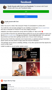 South Aussie With Cosi – Win a Live Acoustic Package for Your Wedding Or Event From Mason Lloyde Music Who Was a Contestant on Channel 9's Very Own Singing Contest