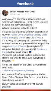 South Aussie With Cosi – Win a $200 Shopping Spree at Either Hallett Cove