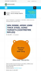 SSAA – Win a Thick Steel Gong Target (prize valued at $74.95)