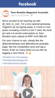 Teen Breathe – Win One of Three Kind Is Cool Packs (prize valued at $88.95)